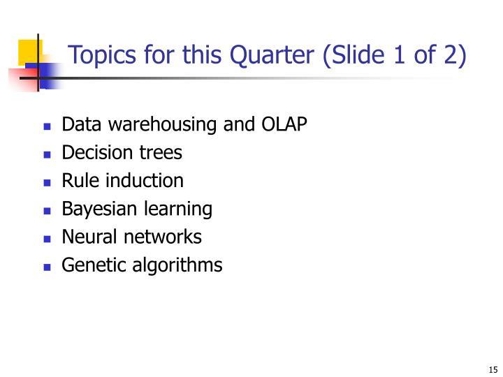 Topics for this Quarter (Slide 1 of 2)