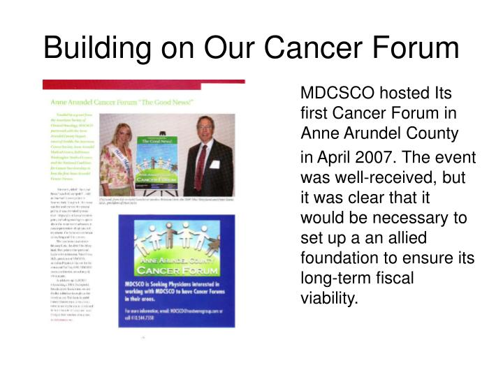 MDCSCO hosted Its first Cancer Forum in Anne Arundel County