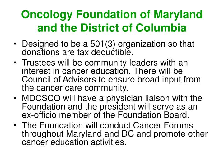 Oncology Foundation of Maryland and the District of Columbia