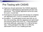 pre testing with casas