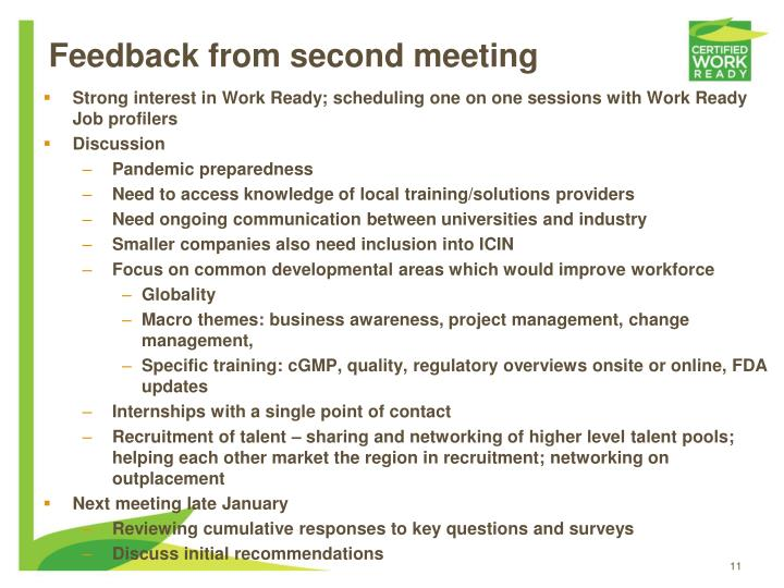 Feedback from second meeting