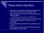 phone call to otto bock