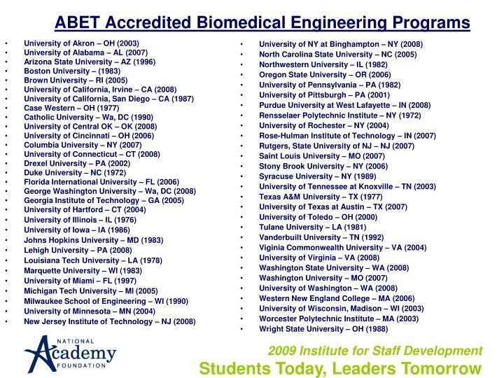 ABET Accredited Biomedical Engineering Programs