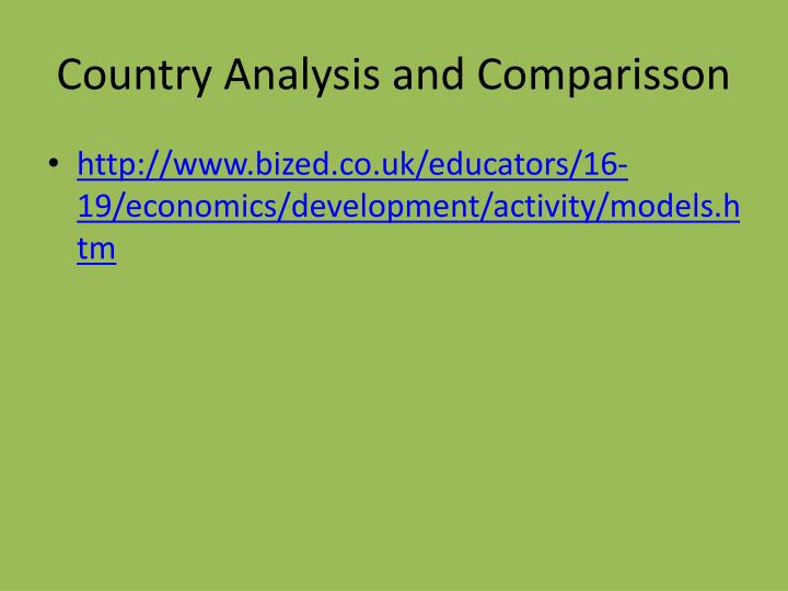 Country Analysis and Comparisson