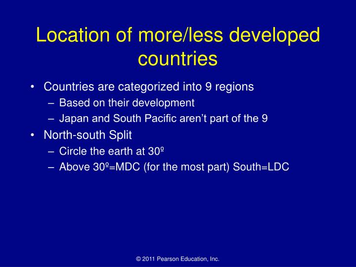 Location of more/less developed countries