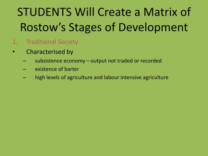 STUDENTS Will Create a Matrix of Rostow's Stages of Development