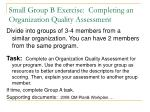 small group b exercise completing an organization quality assessment