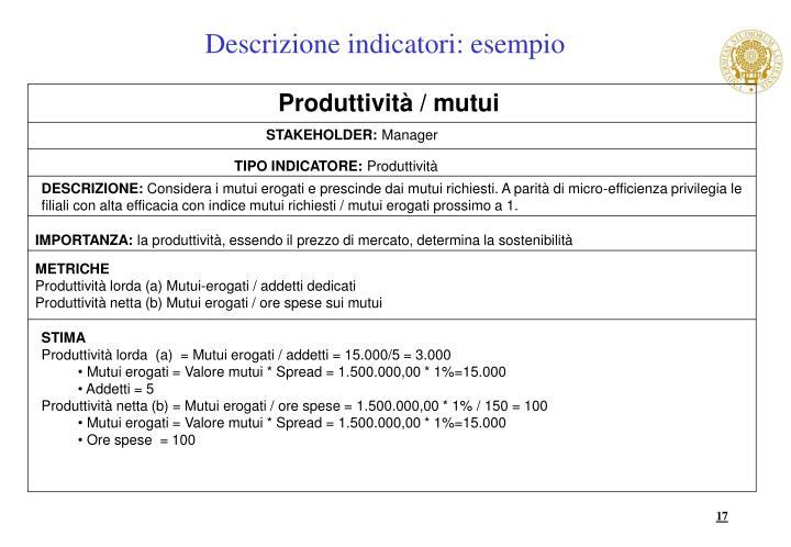 Descrizione indicatori: esempio