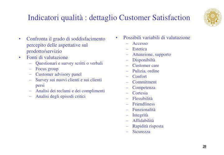 Confronta il grado di soddisfacimento percepito delle aspettative sul prodotto/servizio