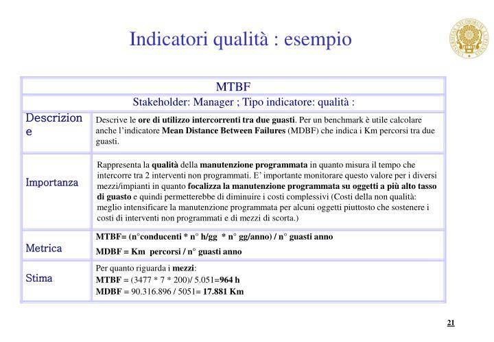 Indicatori qualità : esempio