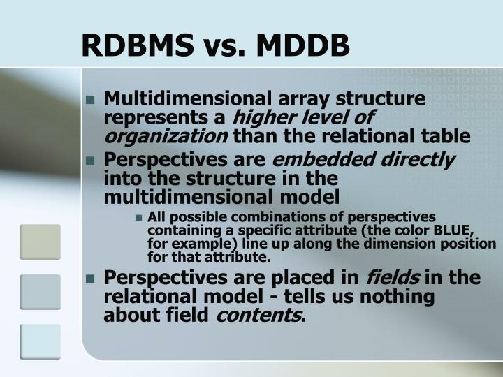 RDBMS vs. MDDB