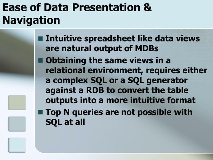 Ease of Data Presentation & Navigation