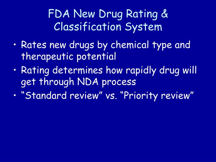 FDA New Drug Rating & Classification System