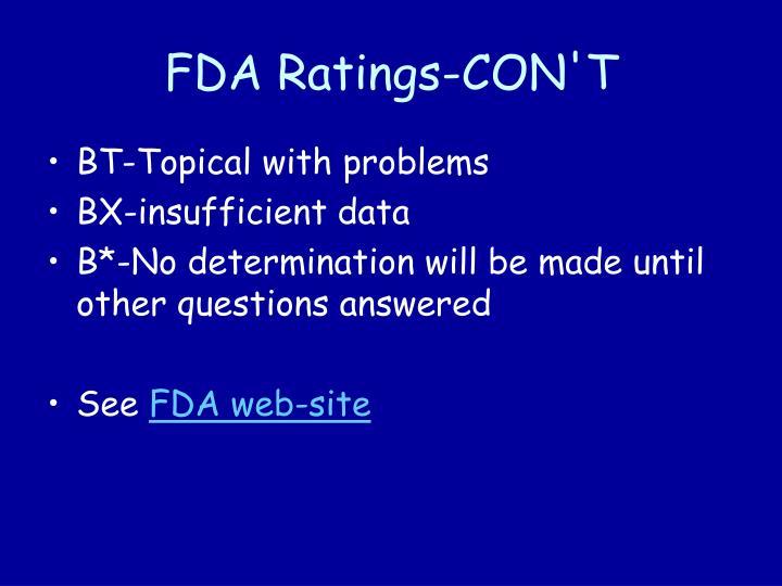 FDA Ratings-CON'T