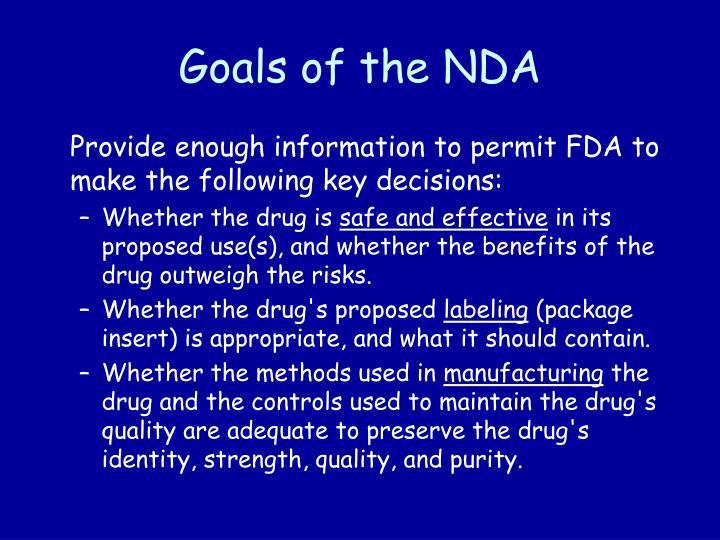 Goals of the NDA