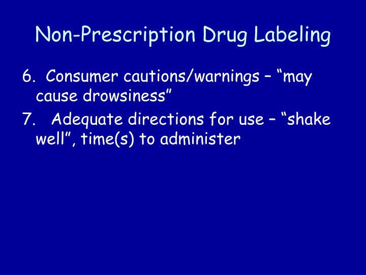 Non prescription drug labeling