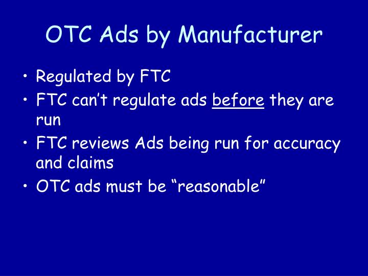 OTC Ads by Manufacturer