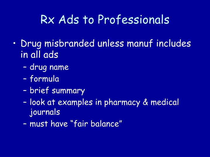 Rx Ads to Professionals