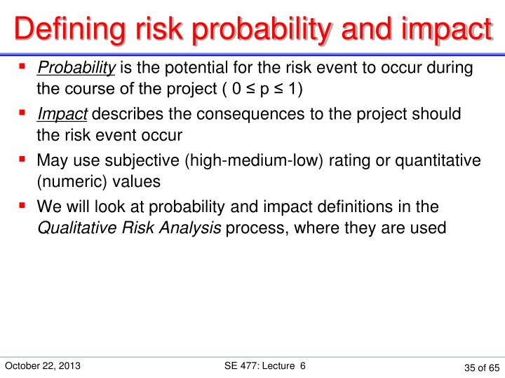 Defining risk probability and impact
