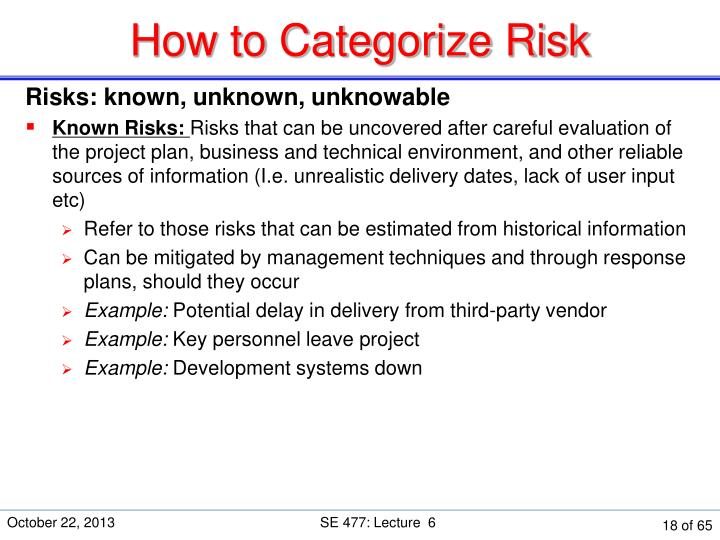 How to Categorize Risk