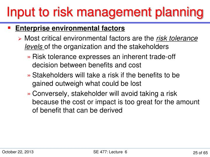 Input to risk management planning