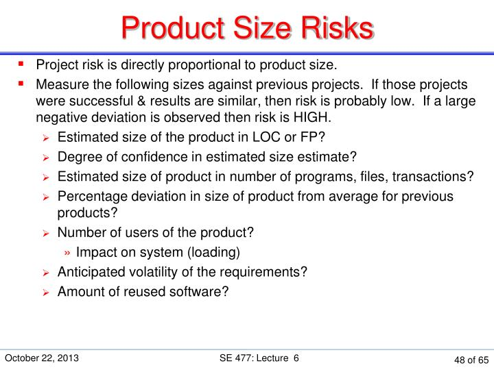 Product Size Risks