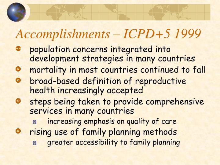 Accomplishments – ICPD+5 1999