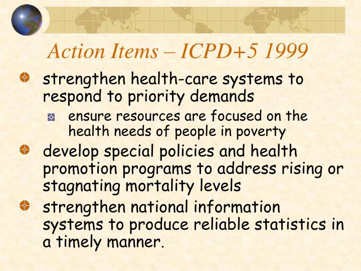 Action Items – ICPD+5 1999