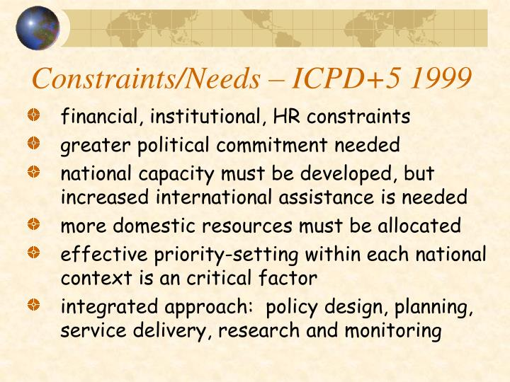 Constraints/Needs – ICPD+5 1999