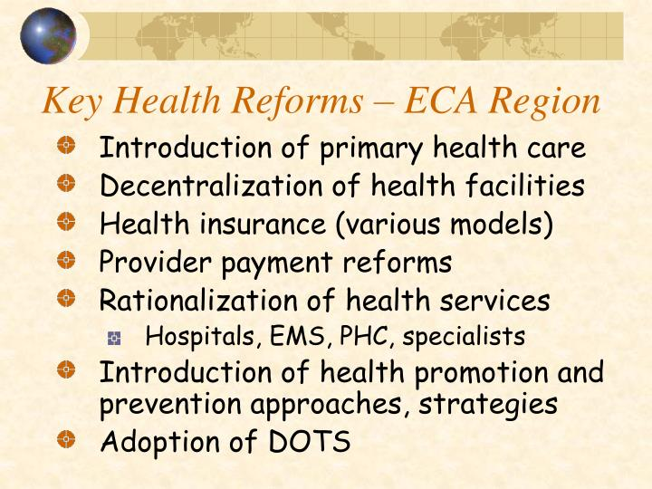 Key Health Reforms – ECA Region