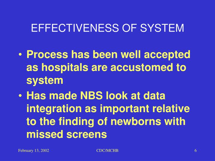 EFFECTIVENESS OF SYSTEM
