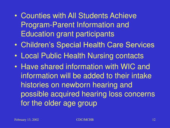 Counties with All Students Achieve Program-Parent Information and Education grant participants