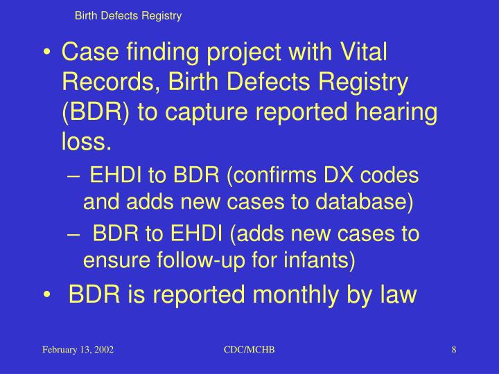 Birth Defects Registry
