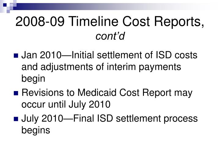 2008-09 Timeline Cost Reports,