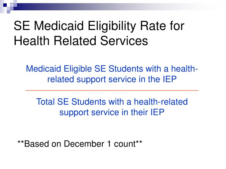 SE Medicaid Eligibility Rate for Health Related Services