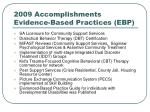 2009 accomplishments evidence based practices ebp