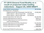 fy 2010 general fund reality as a result of projected state funding reductions august 26 2009 draft