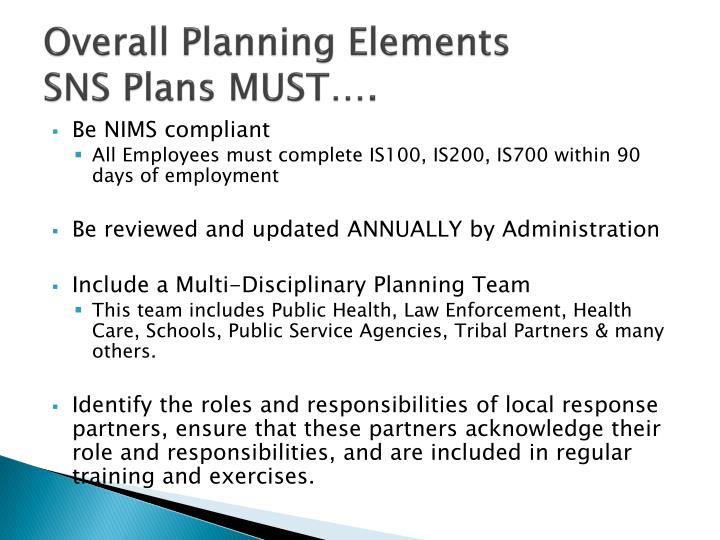 Overall planning elements sns plans must