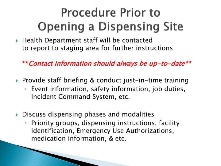 Procedure Prior to