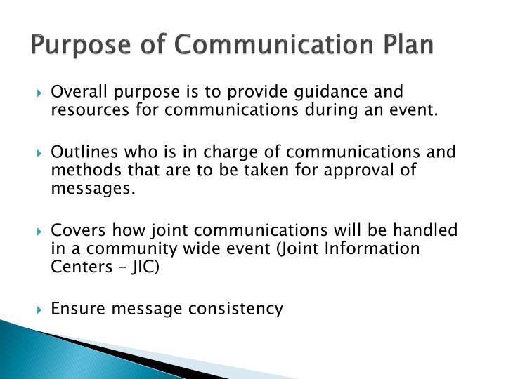 Purpose of Communication Plan