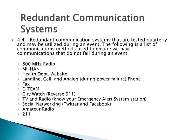 Redundant Communication Systems