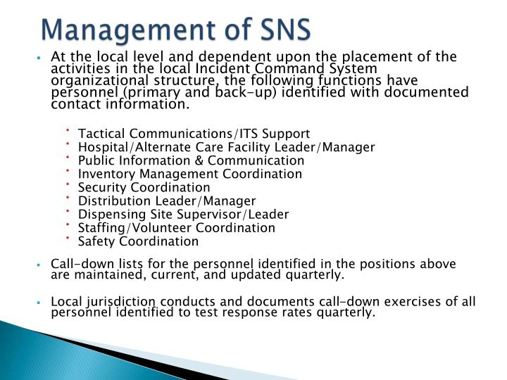 At the local level and dependent upon the placement of the activities in the local Incident Command System organizational structure, the following functions have personnel (primary and back-up) identified with documented contact information.