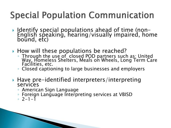 Special Population Communication