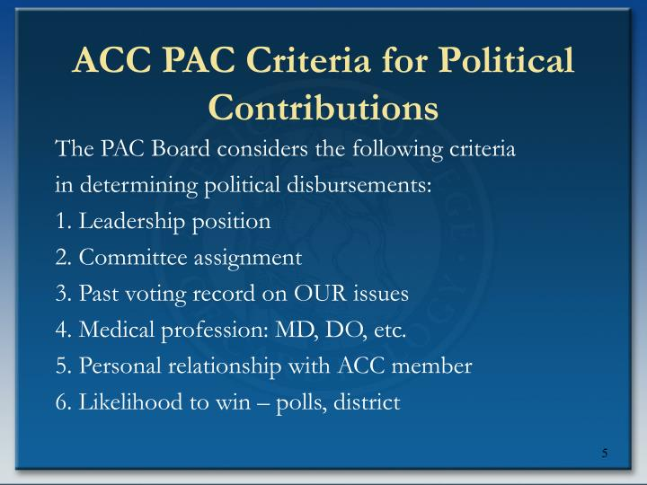 ACC PAC Criteria for Political Contributions