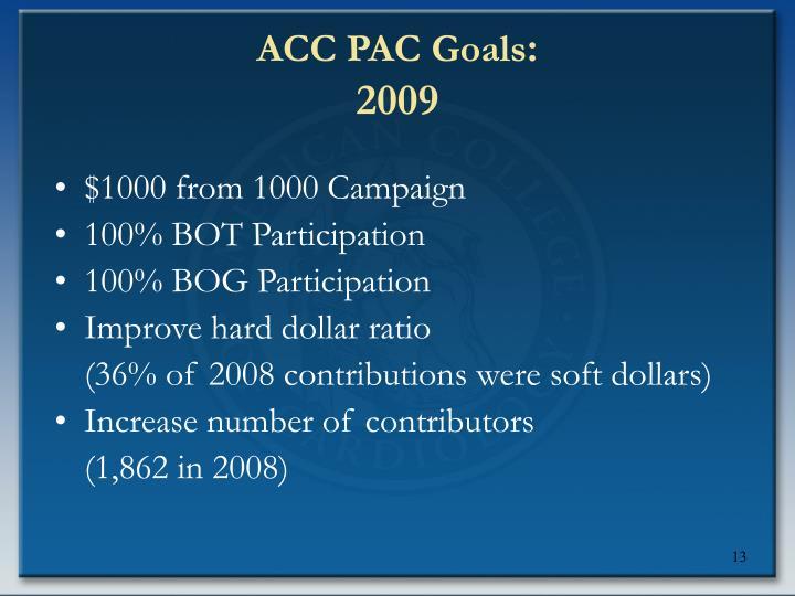 ACC PAC Goals