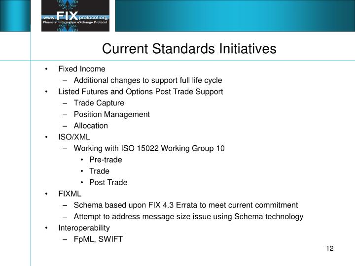 Current Standards Initiatives