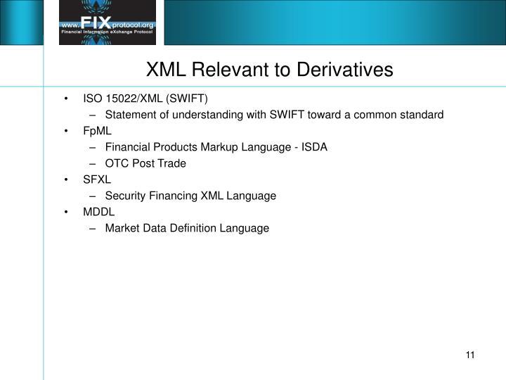 XML Relevant to Derivatives