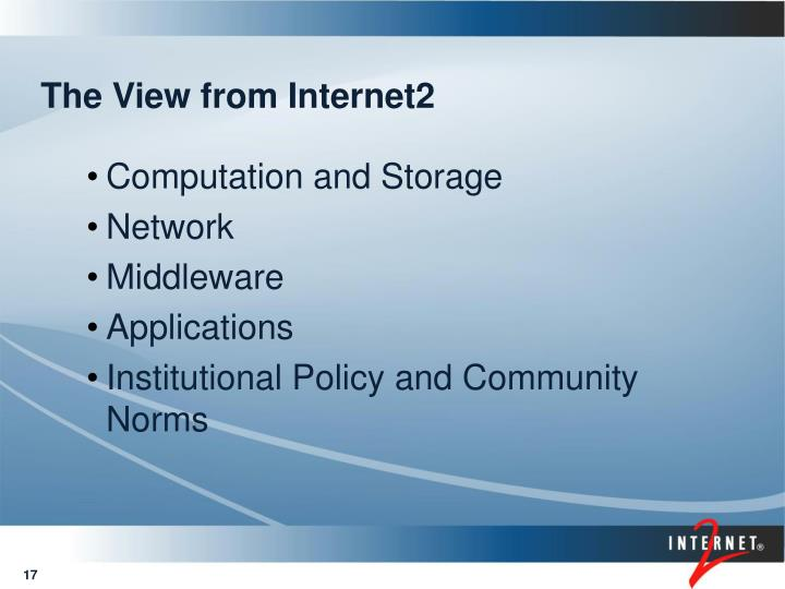 The View from Internet2