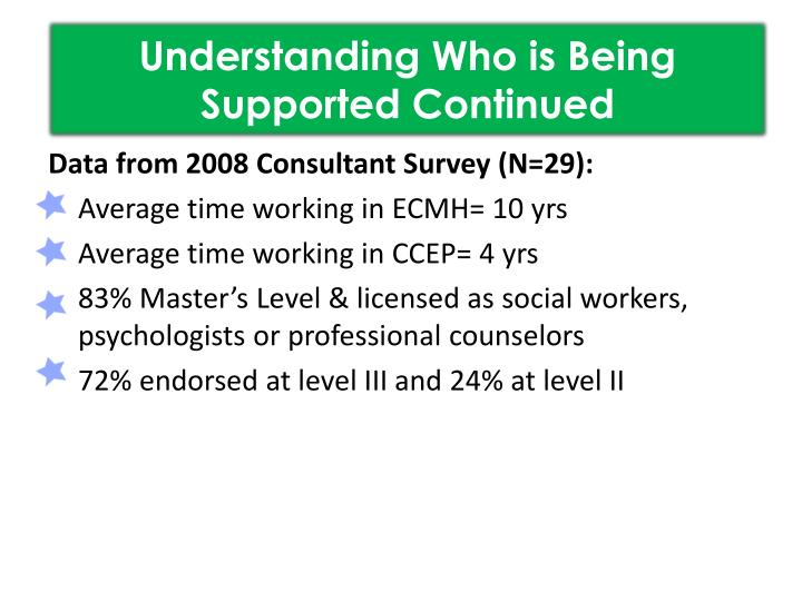 Understanding Who is Being Supported Continued