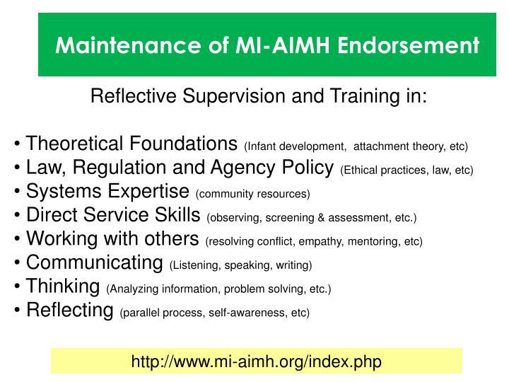 Maintenance of MI-AIMH Endorsement